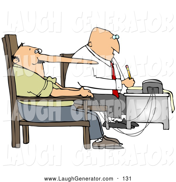 Humorous Clip Art of a Lie Detector Machine While Interrogating a Lying Man Who