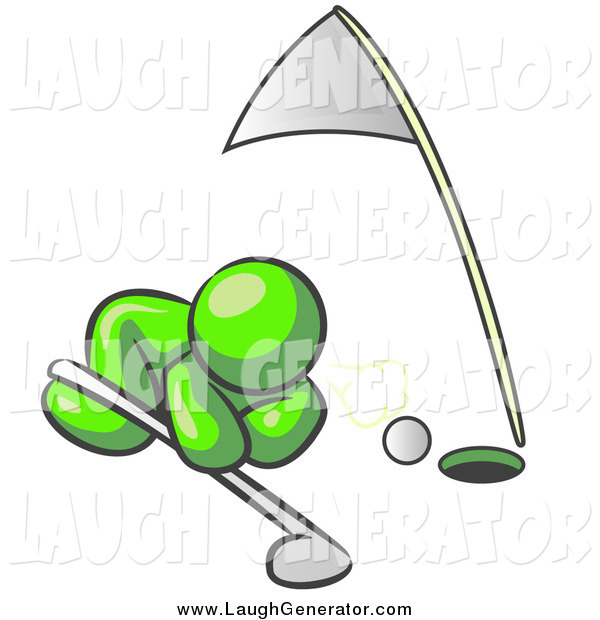 Humorous Clip Art of a Lime Green Man Trying to Blow a Golf Ball into the Hole