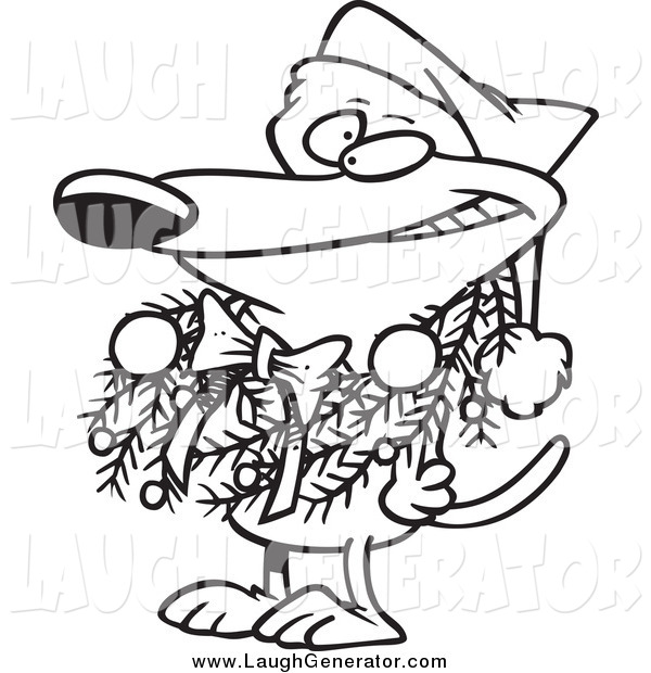 Humorous Clip Art of a Lineart Dog Wearing a Christmas Wreath