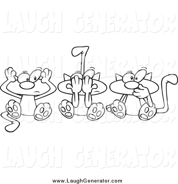 Humorous Clip Art of a Lineart of No Evil Cats
