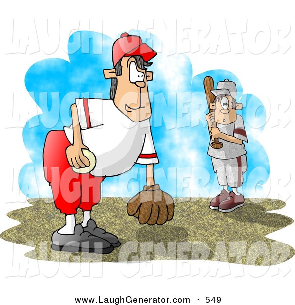 Humorous Clip Art of a Little League Baseball Pitcher and Batter out on the Field