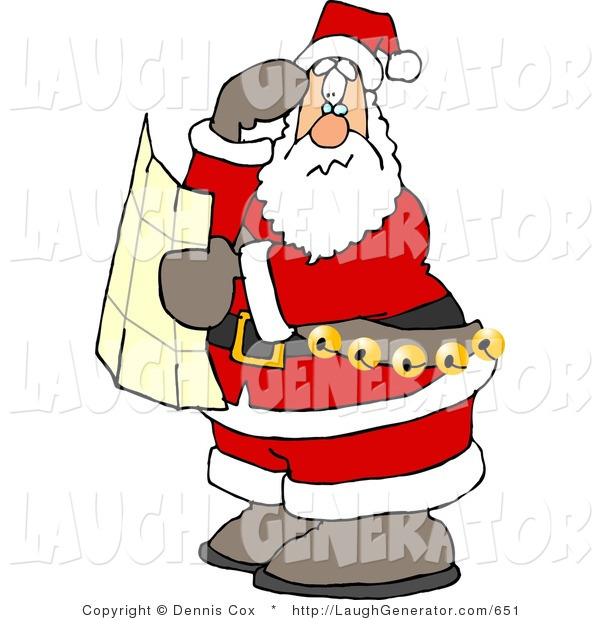 Humorous Clip Art of a Lost Santa Claus Holding a Map and Looking for Directions on Christmas Eve
