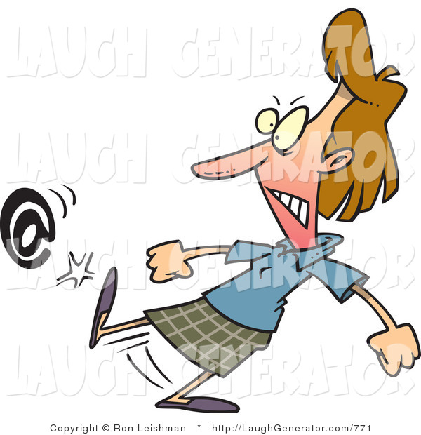 Humorous Clip Art of a Mad Brunette Woman Kicking an at Symbol