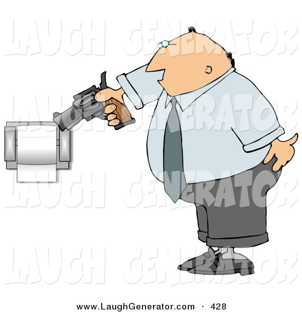 Humorous Clip Art of a Mad Caucasian Man Pointing a Gun at Toilet Paper Roll