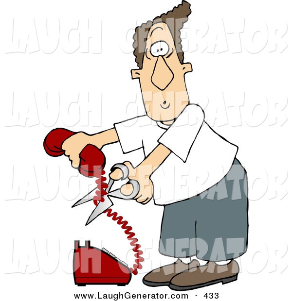Humorous Clip Art of a Mad White Man Cutting the Phone Cord