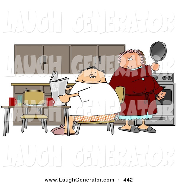 Humorous Clip Art of a Mad White Wife Preparing to Hit Her Lazy Husband with a Cooking Pan