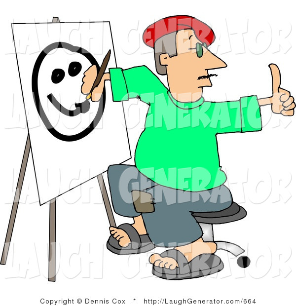 Humorous Clip Art of a Male Artist Giving a Thumbs up and Drawing a Smiley Face on Canvas with a Paintbrush