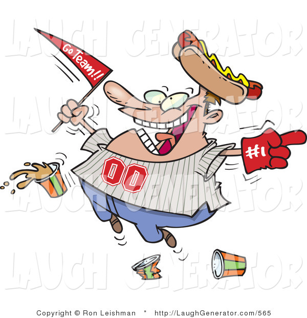 Humorous Clip Art of a Male Baseball Fan with a Hot Dog Hat, Flag, Foam Hand and Drinks