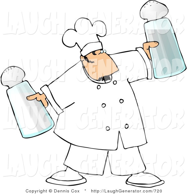 Humorous Clip Art of a Male Chef Holding Oversized Salt and Pepper Shakers in Either Hand