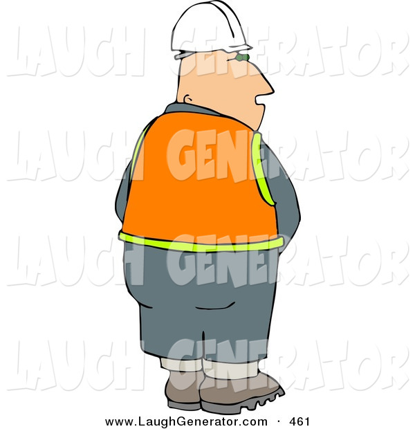 Humorous Clip Art of a Male Construction Worker Taking a Leak