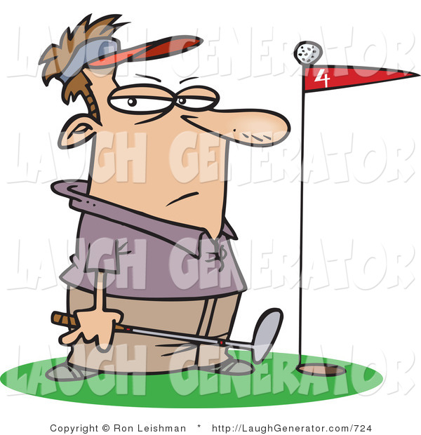 Humorous Clip Art of a Male Golfer Man Standing by a Golf Ball on Top of a Red Flag