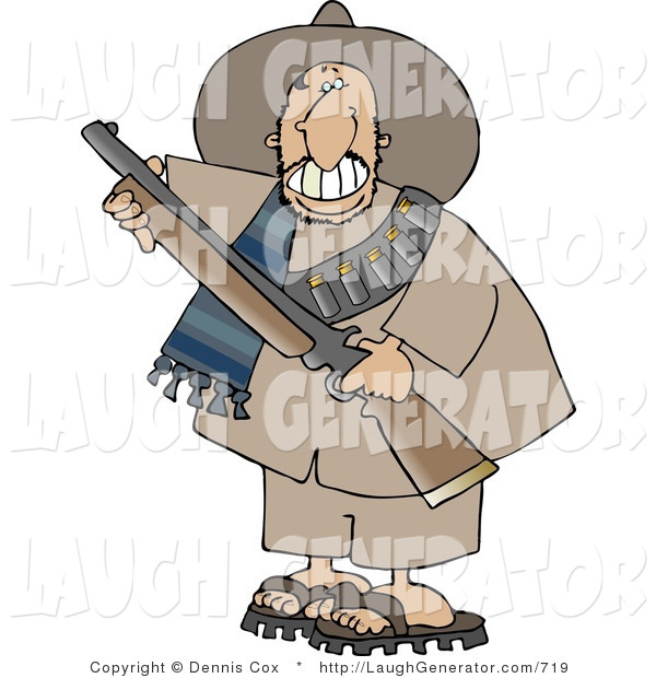 Humorous Clip Art of a Male Mexican Bandit Carrying a Loaded Shotgun and Grinning