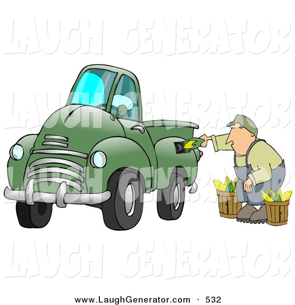 Humorous Clip Art of a Man Crouching While Putting Multiple Ears of Corn into a Green Corn Powered Biodiesel Truck