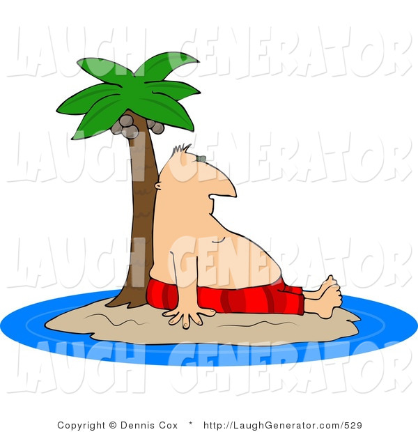 Humorous Clip Art of a Man Leaning Against a Palm Tree Ashore on a Deserted Island or Coast