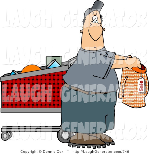 Humorous Clip Art of a Man Shopping for Underwear in the Supermarket