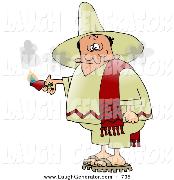 Humorous Clip Art of a Man Smoking out of the Ears After Eating an Extremely Hot Red Pepper While Touring Mexico on a White Background