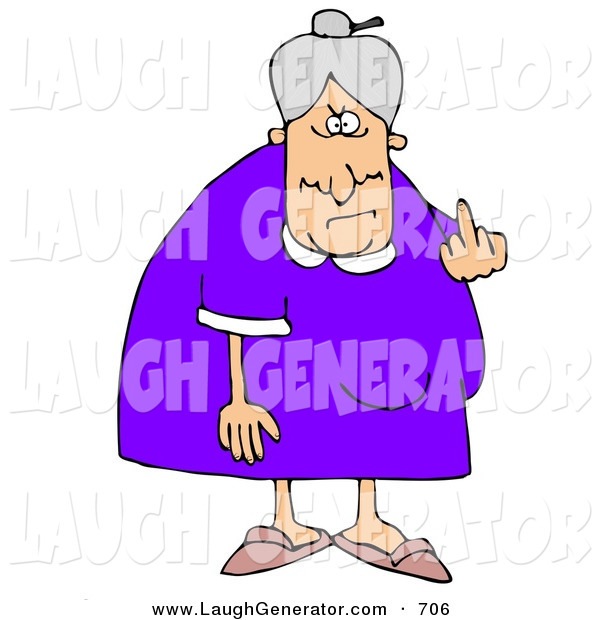Humorous Clip Art of a Mean Old Caucasian Lady with Gray Hair Flipping off the Viewer, on a White Background