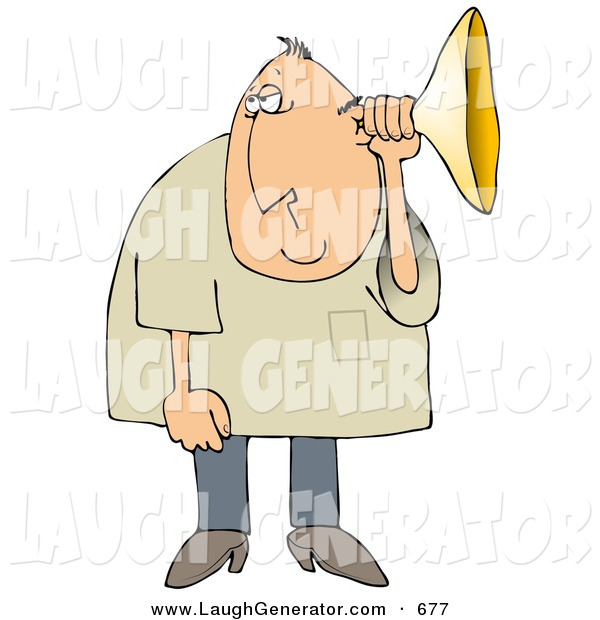 Humorous Clip Art of a Middle Aged White Man Holding an Ear Horn or Ear Trumpet to His Ear to Amplify His Hearing