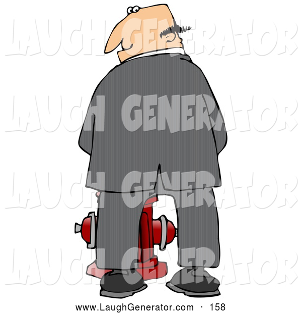 Humorous Clip Art of a Mischievious White Businessman Urinating on a Fire Hydrant and Looking Back over His Shoulder