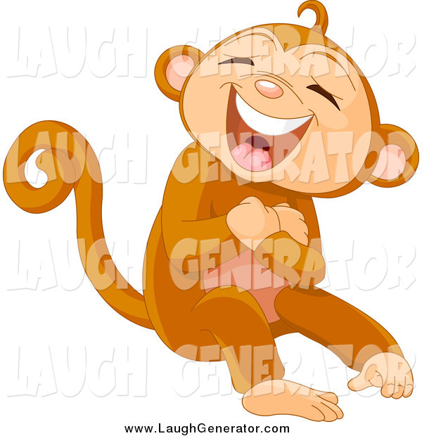 Humorous Clip Art of a Monkey Laughing