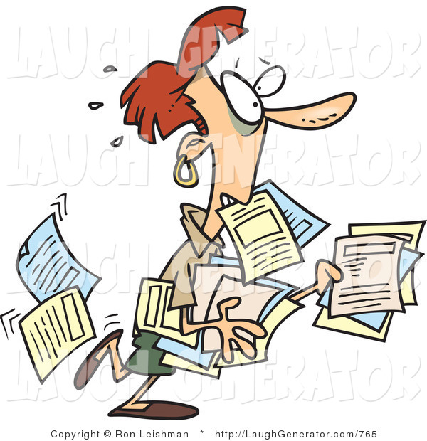 Humorous Clip Art of a Nervous Stressed Business Woman Carrying and Dropping Documents