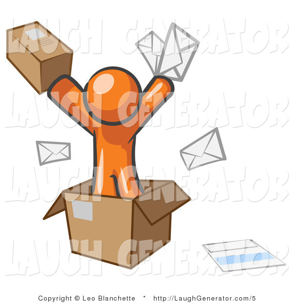 Humorous Clip Art of a Orange Design Mascot Man Going Postal with Parcels and Envelopes