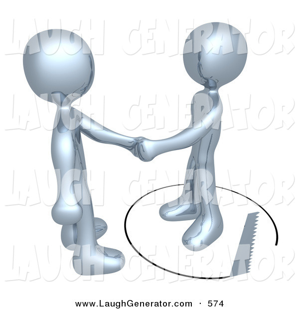 Humorous Clip Art of a Pair of Unsuspecting Silver Man Shaking Hands on a Deal with Another Man As a Saw Cuts a Circle out from Under Him