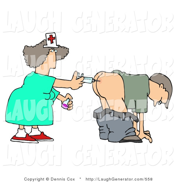 Humorous Clip Art of a Patient Getting an Injection of Antibiotics in the Butt by a Nurse with a Syringe