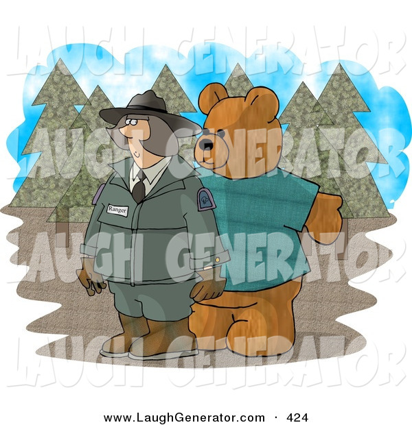 Humorous Clip Art of a Person Wearing a Bear Costume While Trying to Prank a Female Forest Ranger