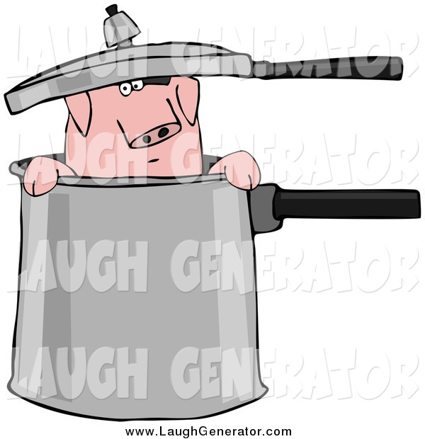 Humorous Clip Art of a Pig in a Pot