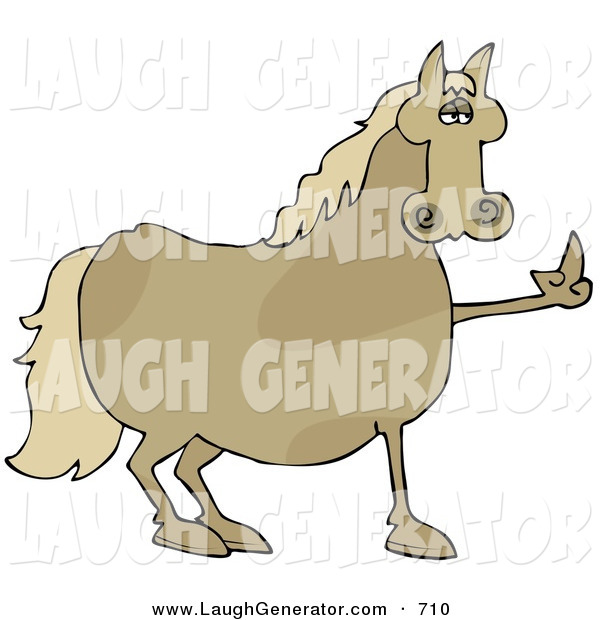 Humorous Clip Art of a Pissed Chubby Brown Horse Flipping off a Farmer After Not Being Fed His Oats