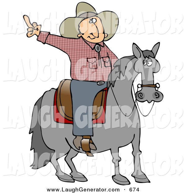 Humorous Clip Art of a Pissed off Cowboy Sitting on a Saddle on a Lazy Old Horse, Flipping off Someone Behind Him