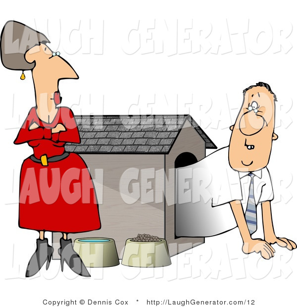 Humorous Clip Art of a Pissed Wife Staring down Her Hubby in a Dog House