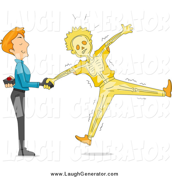 Humorous Clip Art of a Prankster White Man Shaking Hands and Shocking His Friend