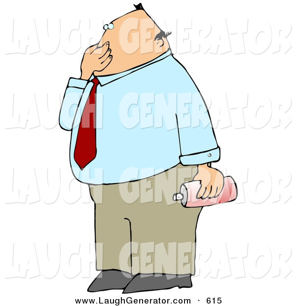 Humorous Clip Art of a Pudgy Disgusted Businessman Plugging His Nose to Avoid Smelling a Nasty Odor and Holding a Can of Air Freshener Spray