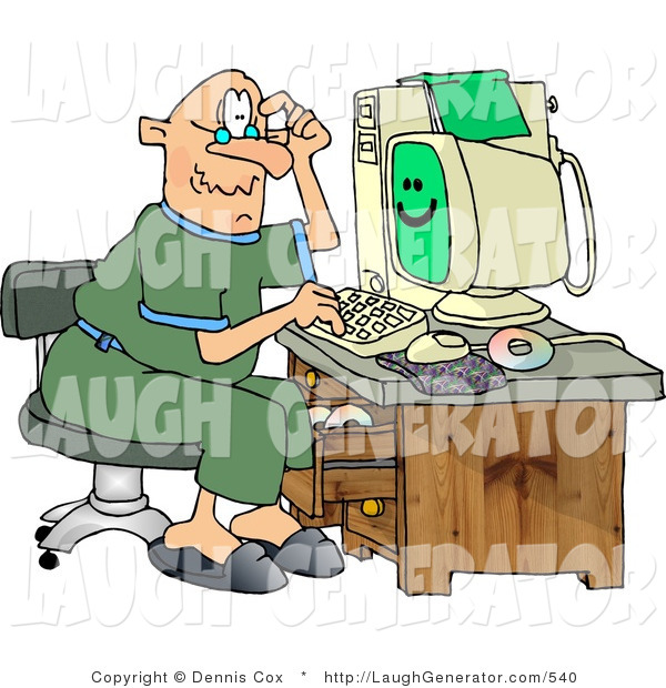 Humorous Clip Art of a Puzzled Elderly Man Using a Computer