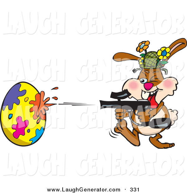 Humorous Clip Art of a Rabbit Having a Blast While Decorating an Easter Egg with a Paintball Gun