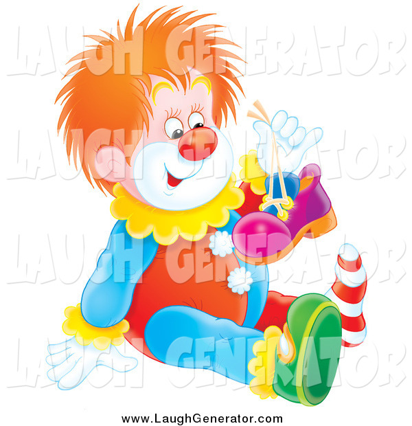 Humorous Clip Art of a Red Haired Clown Holding up One of His Shoes and Sitting on the Floor