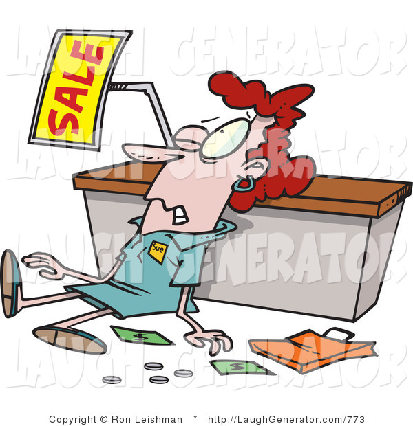 Humorous Clip Art of a Red Haired Employee Trampled During a Sale