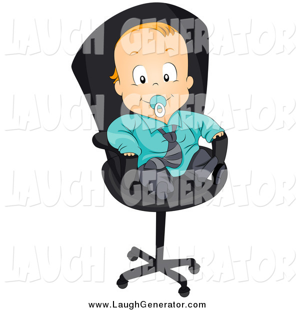 Humorous Clip Art of a Red Haired White Baby Boy in a Suit, Sitting in an Office Chair