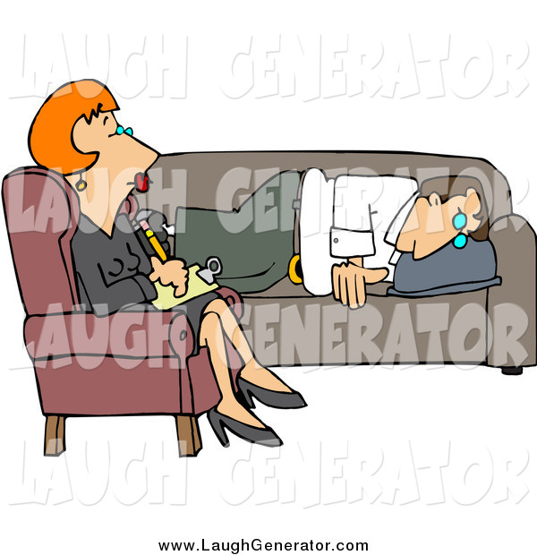 Humorous Clip Art of a Red Haired White Lady Counselor Listening to a Depressed Man