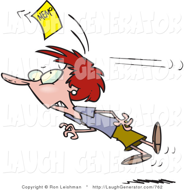 Humorous Clip Art of a Red Haired Woman Chasing a Yellow Memo Slip