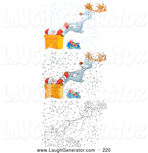 Humorous Clip Art of a Reindeer Pulling Santa from a Chimney in Three Versions