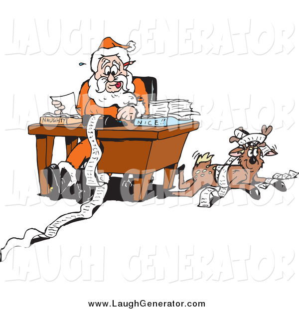 Humorous Clip Art of a Reindeer Resting by Santa As He Organizes His Naughty and Nice Lists