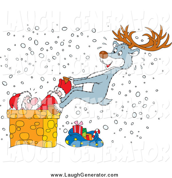 Humorous Clip Art of a Reindeer Saving Santa from a Chimney