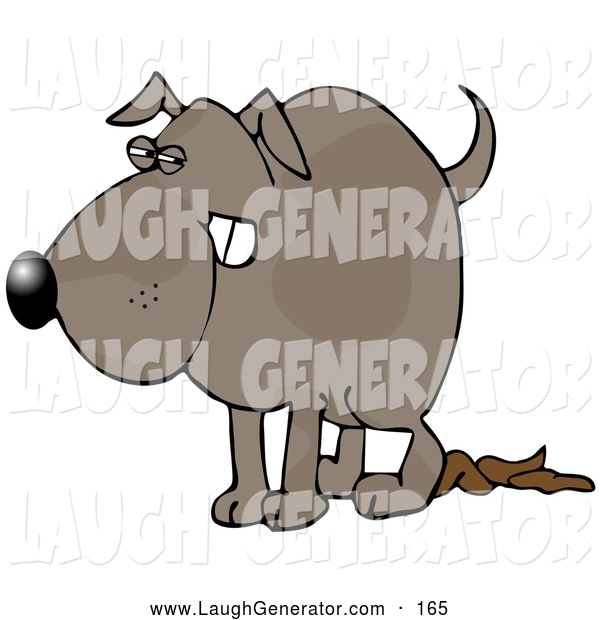 Humorous Clip Art of a Revengeful Dog Pooping Thoroughly on the Floor