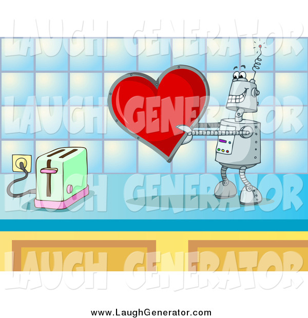 Humorous Clip Art of a Robot About to Toast a Love Heart