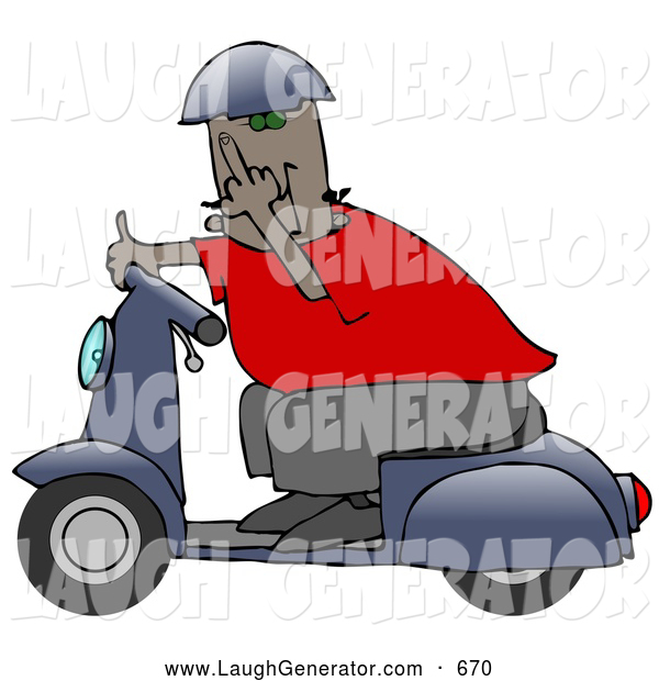 Humorous Clip Art of a Rude African American Man Wearing a Blue Helmet, Red Shirt and Brown Pants, Riding past on a Blue Scooter and Flipping the Viewer off
