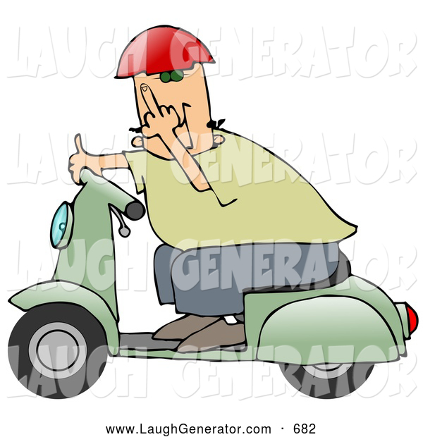 Humorous Clip Art of a Rude White Man Wearing a Red Helmet, Green Shirt and Blue Pants, Riding past on a Green Scooter and Flipping the Viewer off