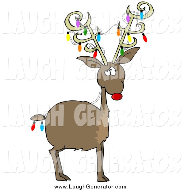 Humorous Clip Art of a Rudolph the Red Nosed Reindeer with Colorful Christmas Lights on His Body